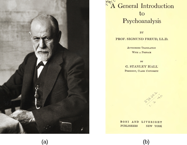 Photograph A shows Sigmund Freud. Image B shows the title page of his book, A General Introduction to Psychoanalysis.