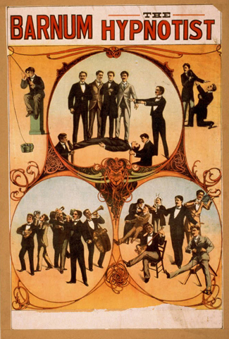 "A poster titled ""Barnum the Hypnotist"" shows illustrations of a person performing hypnotism."