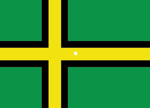 An illustration shows a green flag with a thick, black-bordered yellow lines meeting slightly to the left of the center. A small white dot sits within the yellow space in the exact center of the flag.