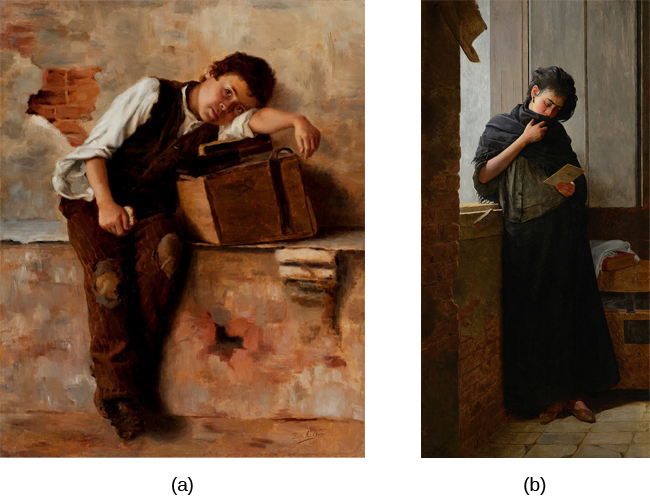 Photograph A shows a painting of a person leaning against a ledge, slumped sideways over a box. Photograph B shows a painting of a person reading by a window.