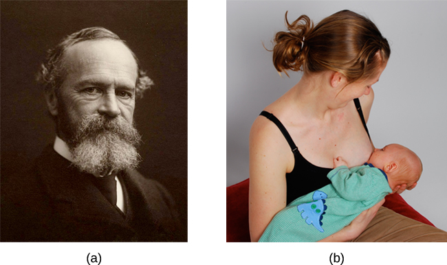 Photograph A shows William James.  Photograph B shows a person breastfeeding a baby.