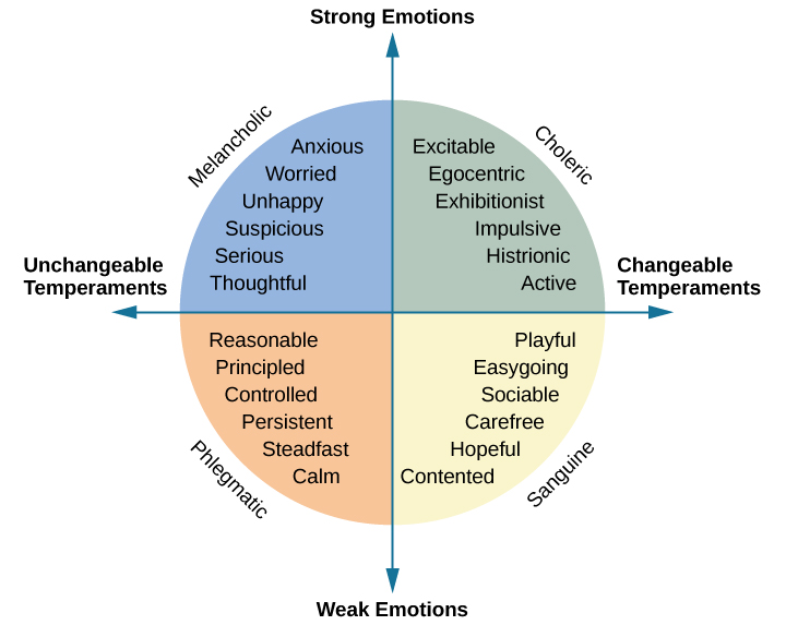 """A circle is divided vertically and horizontally into four sections by lines with arrows at the ends. Clockwise from the top, the arrows are labeled """"Strong Emotions,"""" """"Changeable Temperaments,"""" """"Weak Emotions,"""" and """"Unchangeable Temperaments."""" The arcs around the perimeter of the circle, clockwise beginning with the top right segment are labeled """"Choleric,"""" """"Sanguine,"""" """"Phlegmatic,"""" and """"Melancholic."""" The sections inside each arc contain descriptive words. Inside the Choleric arc are the words """"excitable, egocentric, exhibitionist, impulsive, histrionic, and active."""" Inside the Sanguine arc are the words """"playful, easygoing, sociable, carefree, hopeful, and contented."""" Inside the Phlegmatic arc are the words """"reasonable, principled, controlled, persistent, steadfast, and calm."""" Inside the Melancholic arc are the words """"anxious, worried, unhappy, suspicious, serious, and thoughtful."""""""