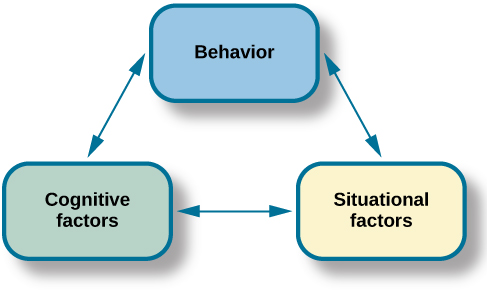 """Three boxes are arranged in a triangle. There are lines with arrows on each end connecting the boxes. The boxes are labeled """"Behavior,"""" """"Situational factors,"""" and """"Personal factors."""""""