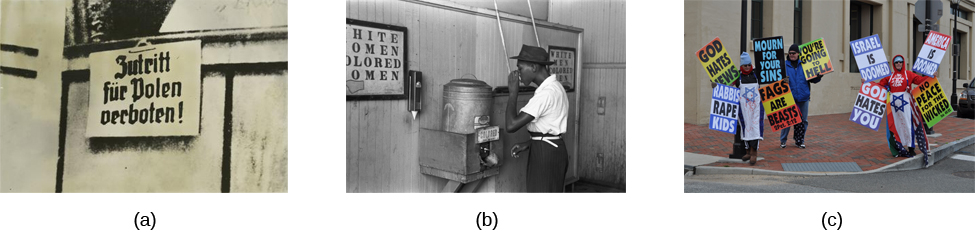 Photograph A shows a sign written in German. Photograph B shows a man drinking at a drinking fountain. Photograph C shows two people holding signs with hate messages.