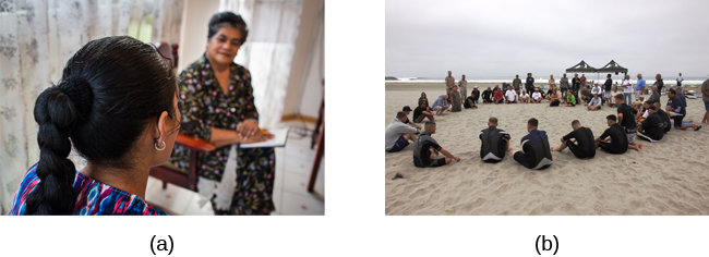 Two photographs are shown. Photograph A depicts two people in conversation. Photograph B depicts a large group of people sitting in a circle on the beach.